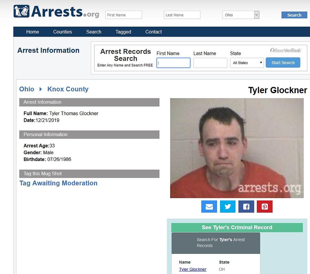 Tyler Glockner mugshot arrest