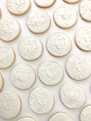 White on White Wedding Monogram Cookies.