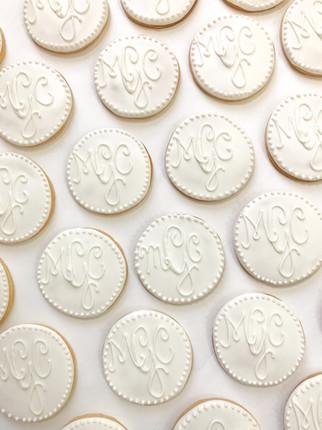 White on White Wedding Monogram Cookies.