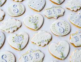 Blue and Green Wedding Cookies