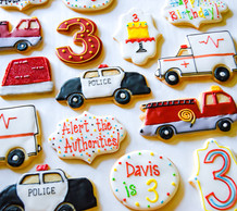 Emergency Vehicle Third Birthday Cookies