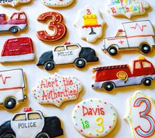 Emergency Vehicle Third Birthday Cookies