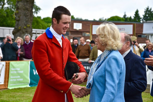 Harry Davidson receiving his Hunting  Horn Award from HRH Duchess of Cornwall