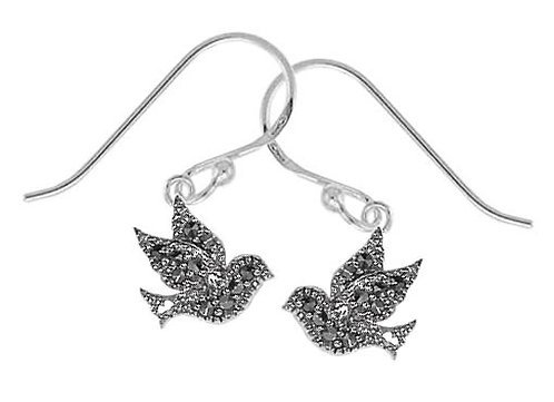 #074 Marcasite Dove Earings