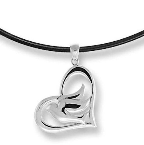 #008 Dove In Heart Necklace