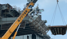USS WASP Ramp positioning  at Alava Pier Port of Subic