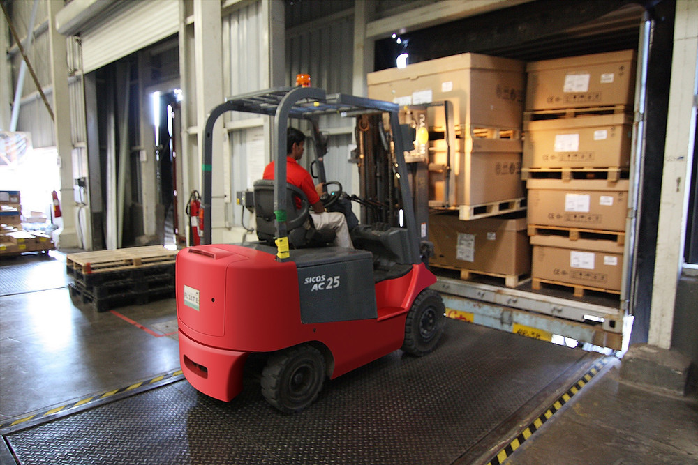 Complete delivery's being loaded for shipment