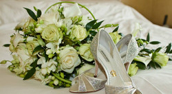 Ivory and green shower bouquet