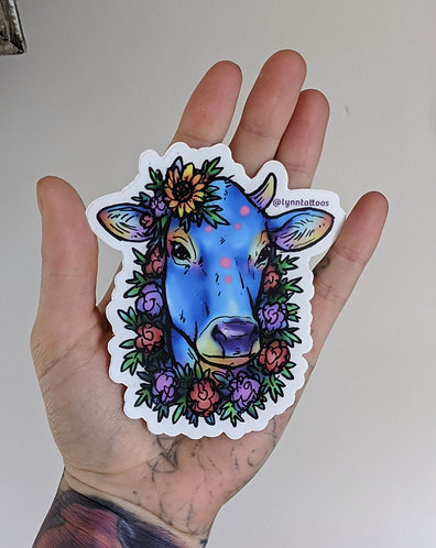 Blue Cow Sticker