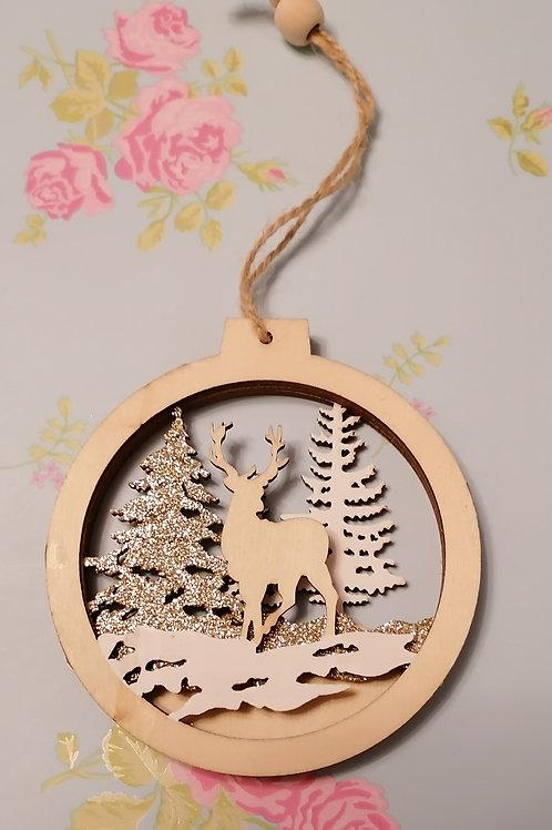 Wooden Reindeer Hanging Decorations