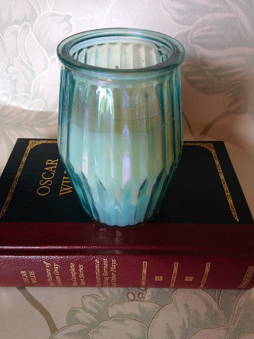 White Cotton Ridged Glass Candle