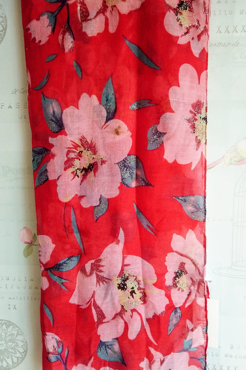 Red Scarf with Wild Flower design and glitter highlights