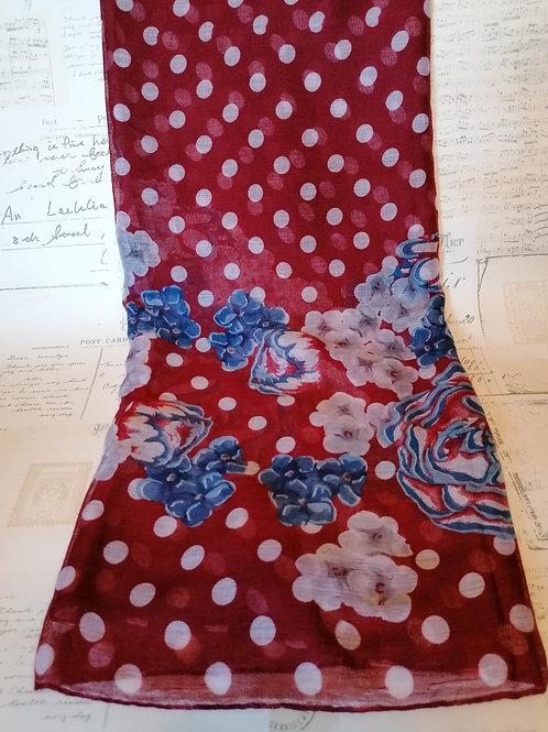 Gorgeous Red Floral & Polka Dot Print Scarf
