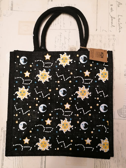 Sun Moon & Stars Jute Shopper from Shared Earth