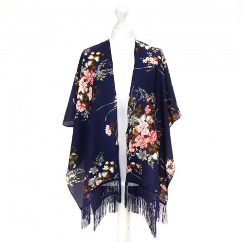 Blue Floral Tassel Kimono