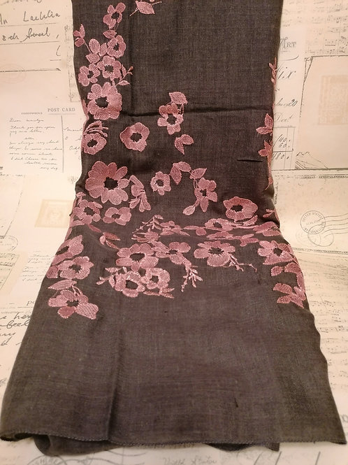 Grey Scarf with Pink Embroidered Flowers
