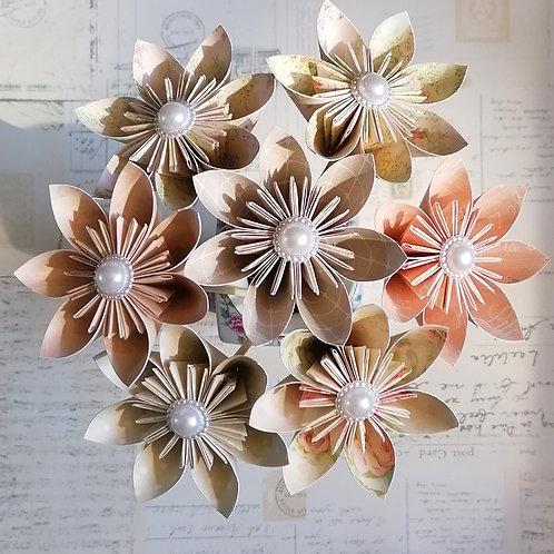 Peaches and Cream Kusudama flowers
