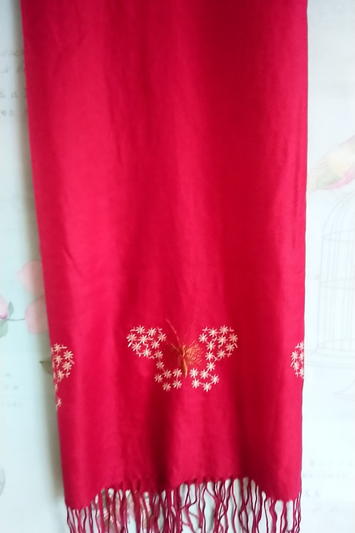 Red Butterfly Embroidered Scarf