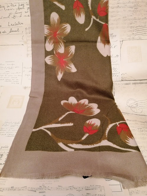 Green Blossom Print Brushed Fabric Scarf