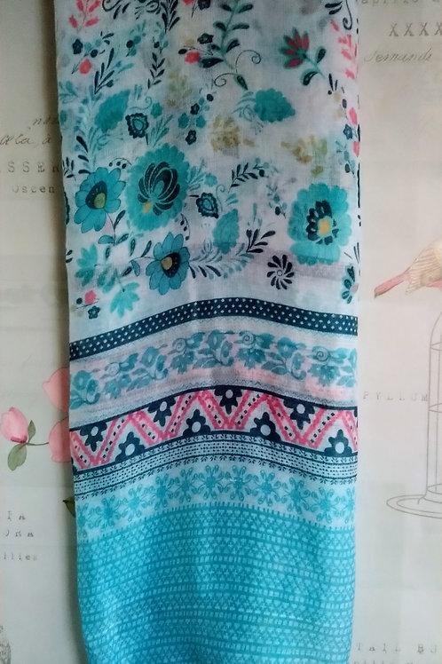 Pretty Blue/Green Floral Print Scarf