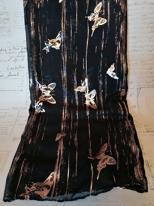 Rose Gold Foiled Butterfly Design Scarf