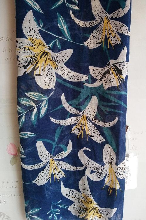 Blue Lily Print Scarf