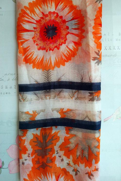 Orange Morning Glory Sunflower Print Scarf