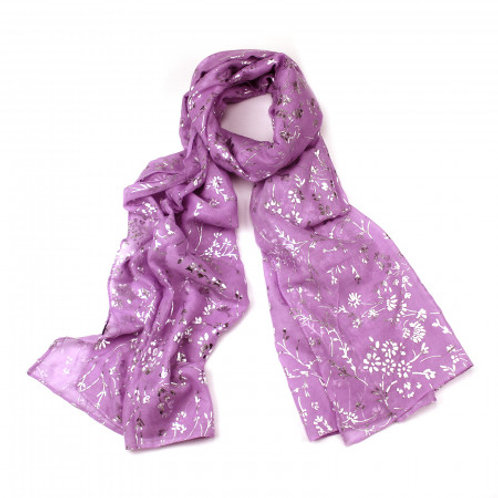 Lilac Scarf with Silver Foiled Floral Print