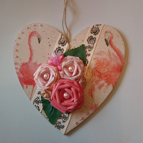 Flamingo Decorated Hanging Heart
