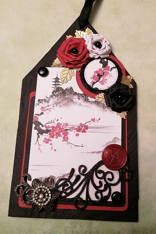 Japanese themed slate hanging plaque