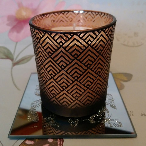 Art Deco Design Black and Gold Candle Small