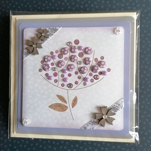 Lavender & Grey Flower Design Greeting Card