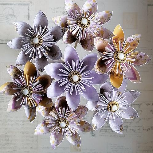 Lavender and Yellow Kusudama Flowers