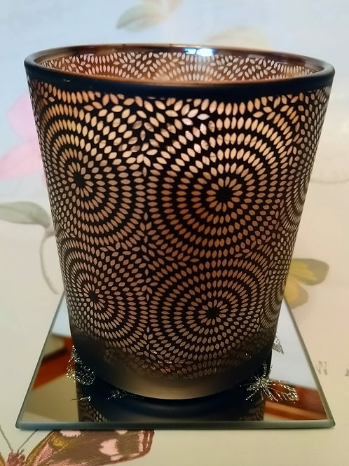Art Deco Design Black and Gold Candle Large