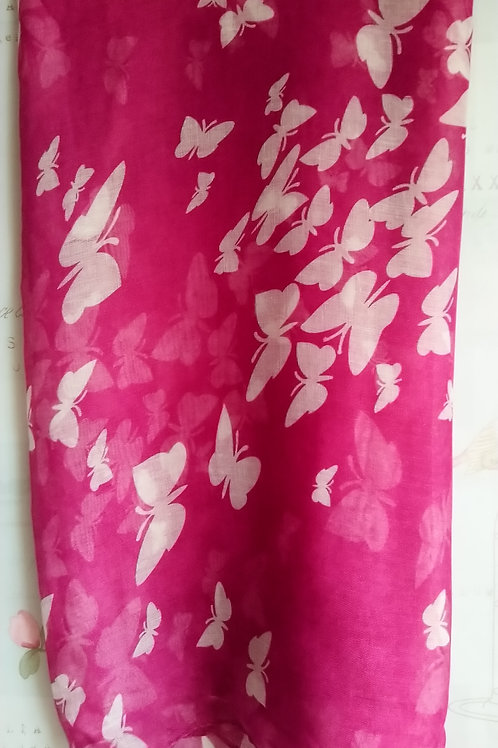 Cerise Pink and White Butterfly Scarf