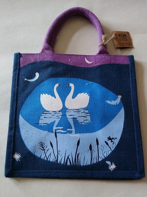 Shared Earth Swan Design Jute Shopper