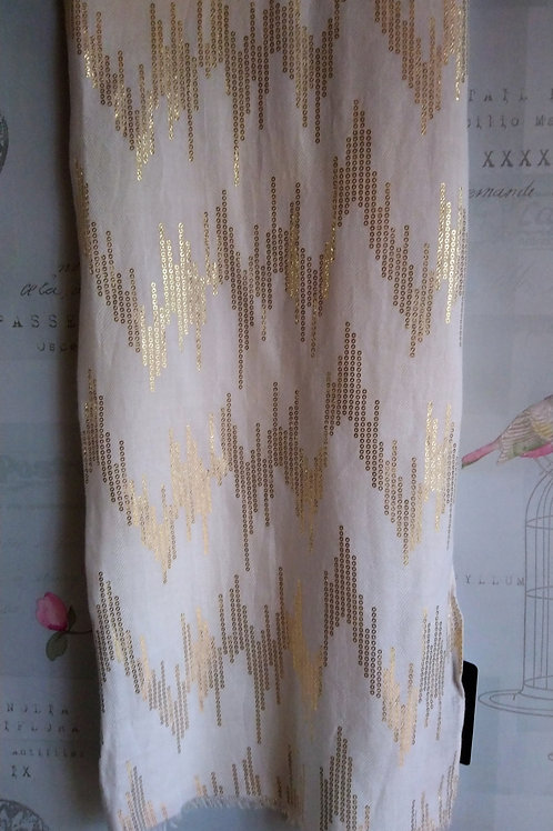 Ivory Scarf with Gold Metallic Detail