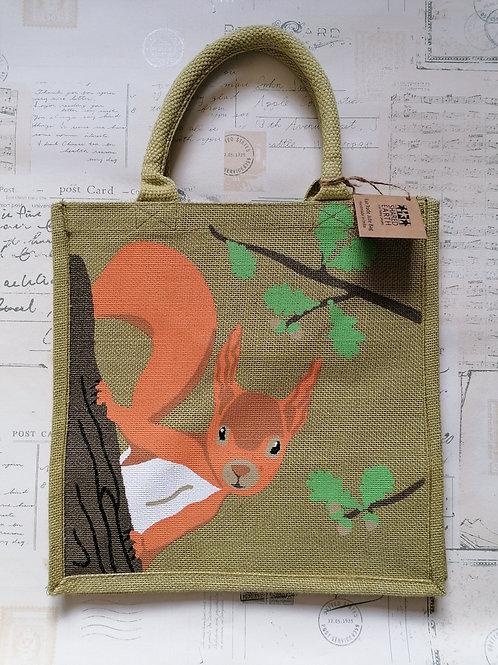 Cute Squirrel Jute Shopper