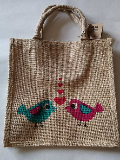 Shared earth Love Birds Design Jute Shopper