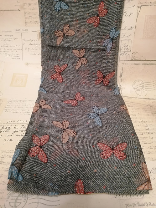 Grey Scarf with Butterfly Design
