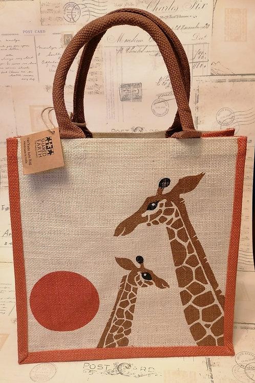 Share Earth Giraffe Print Jute Shopper