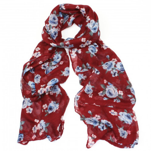 Red Scarf with Rose Print