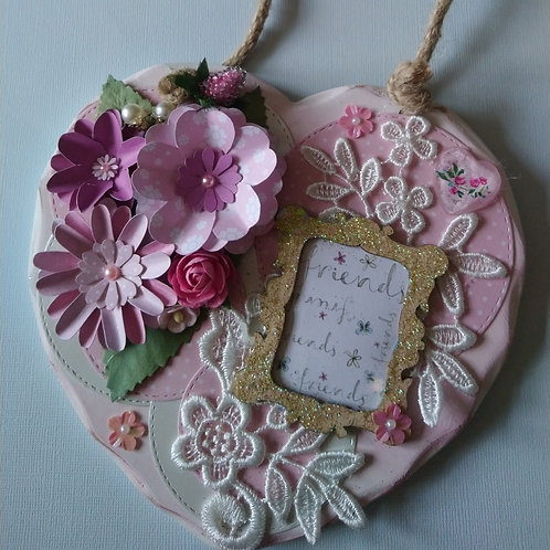 Pretty in Pink Decorated Hanging Heart
