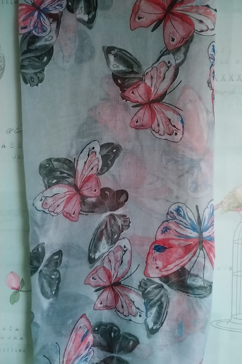 Pretty Grey and Pink Butterfly Print Scarf