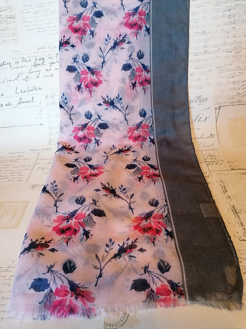 Pretty Pink & Grey Floral Print Scarf