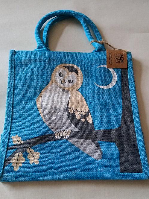 Shared Earth Owl Design Jute Shopper