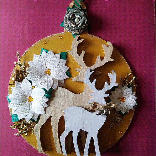 Reindeer Decorated Christmas Bauble
