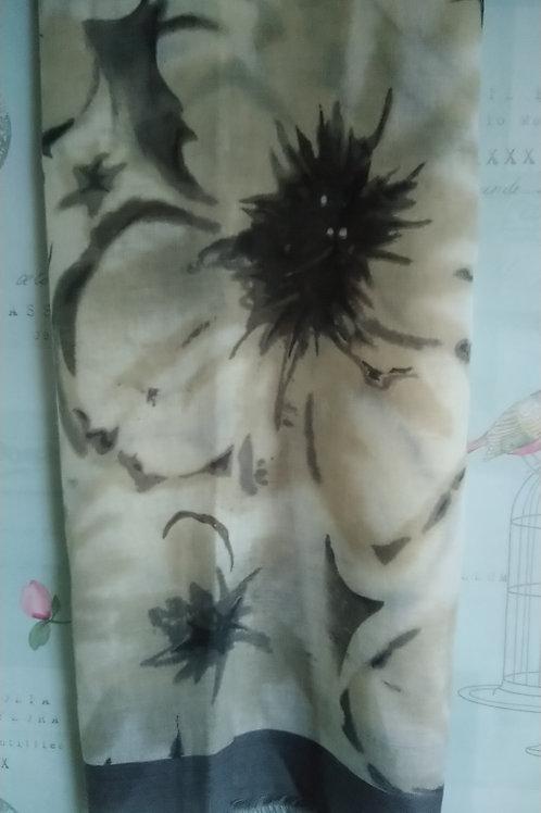 Classic Grey Scarf with A Flower Burst Design