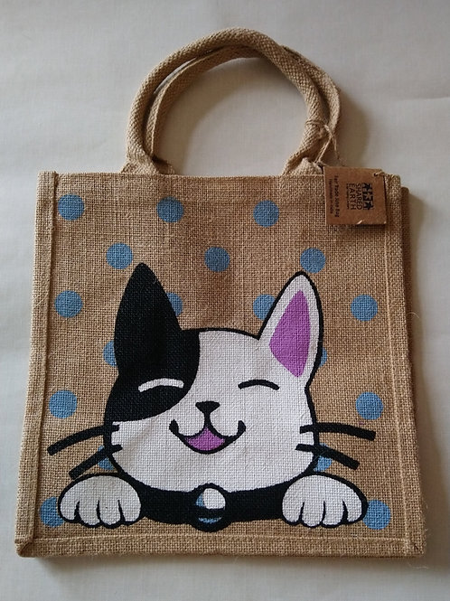 Shared Earth Cat Design Jute Shopper