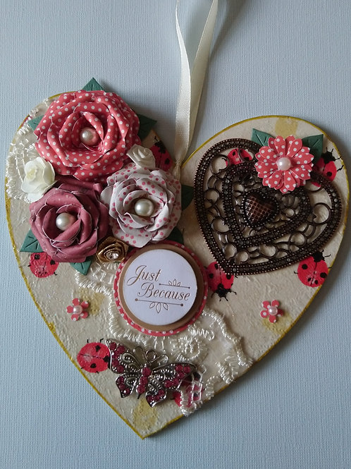 Red and Cream Ladybird Decorated Hanging Heart